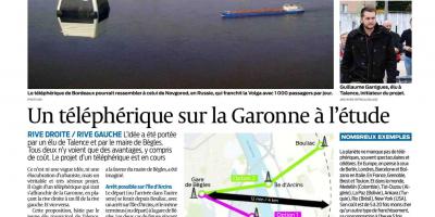 Article Sud Ouest du 17/09/2018 sur le projet de téléphérique Bègles-Latresne